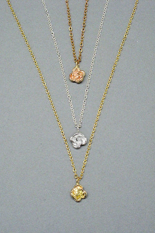 Harlequin&Lionhead handmade Rose solitaire pendant necklace in sterling silver or brass
