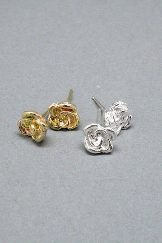 Harlequin&Lionhead handmade Rose solitaire stud earrings in gold/brass or sterling silver