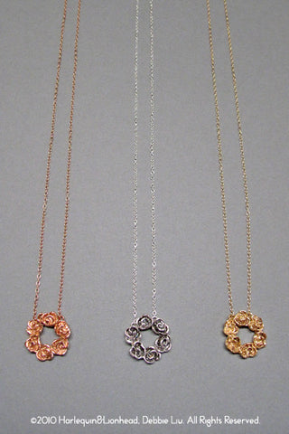 Harlequin&Lionhead handmade Rose pendant necklace in sterling silver or gold plated