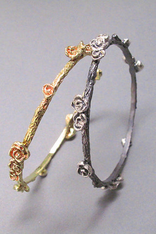 Harlequin&Lionhead handmade Rose stackable bangle bracelet in sterling silver
