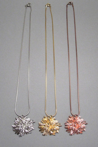 Harlequin&Lionhead handmade flower large pendant necklace yellow, rose or white gold plated