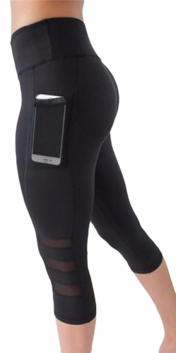 Mid-rise Capri Leggings with Mesh Pocket
