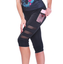 Load image into Gallery viewer, Mid-rise Capri Leggings with Mesh Pocket