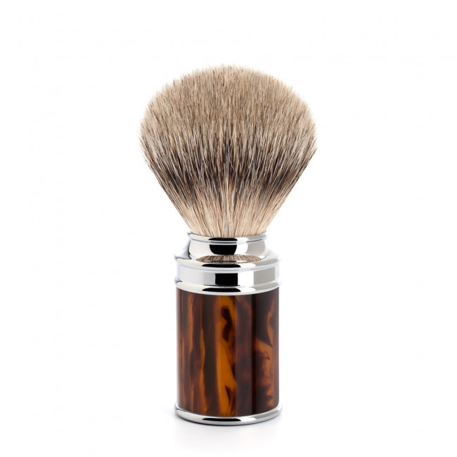 Muhle Traditional Silvertip Fine Badger Brush Black Tortoiseshell Resin 19mm