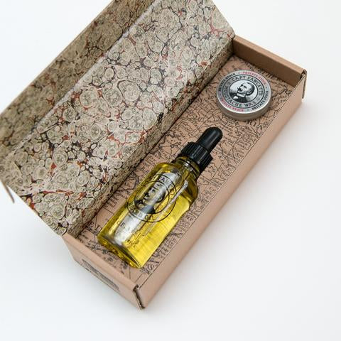 Captain Fawcett Private Stock Beard Oil and Moustache Wax Gift Set