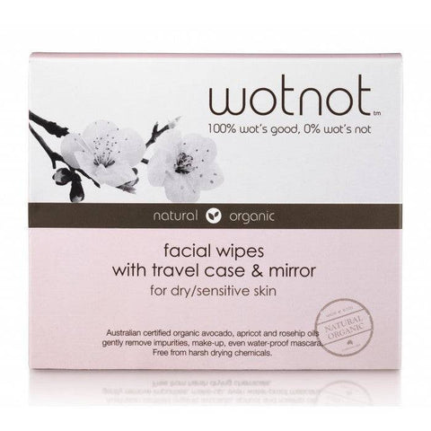 WotNot Facial Wipes Dry Sensitive Skin x 25 with travel case