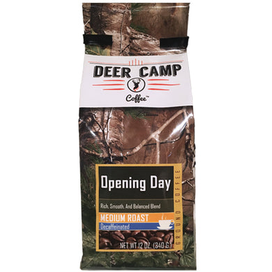 DEER CAMP® Coffee Opening Day™ Decaffeinated  Featuring REALTREE XTRA® Green 12 oz. .Medium Roast Ground Coffee