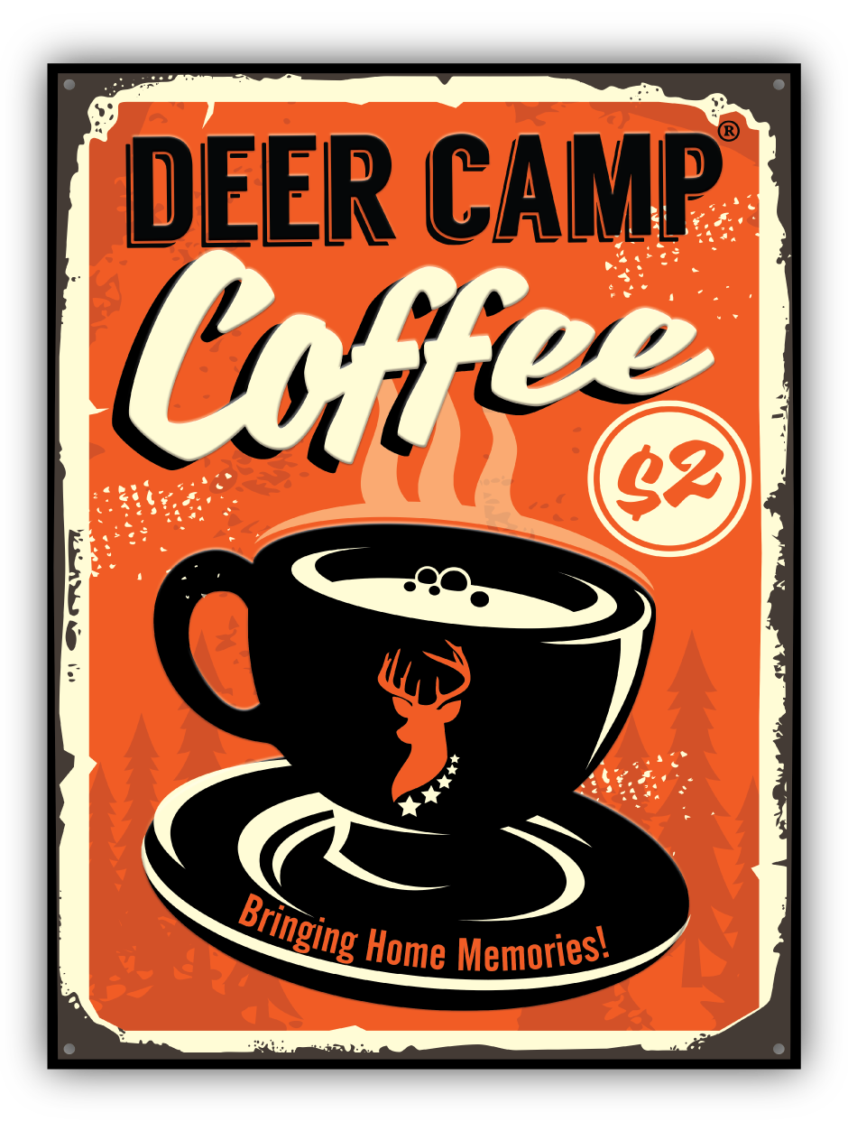 DEER CAMP® Vintage Cafe Or Pub Coffee Tin Tacker Sign