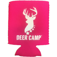 Load image into Gallery viewer, DEER CAMP® Coffee Huntress™ COOLER COMRADE™ Can Cooler (White | Pink)