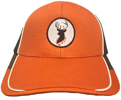DEER CAMP® Coffee Deer Logo Blaze Orange Mesh Back Cap (Orange White Gray)