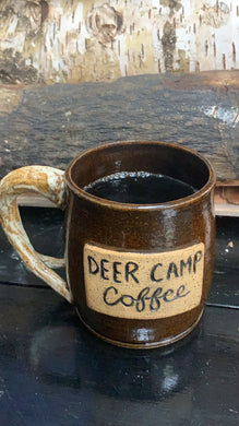 DEER CAMP® Coffee Logo Earth Ware Mug With Antler Handle