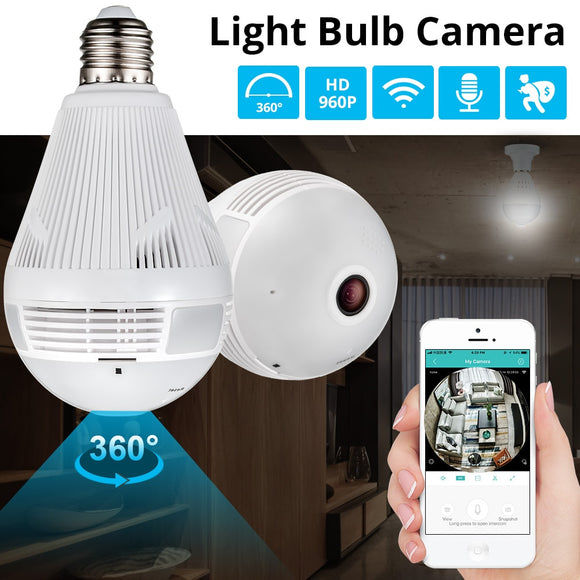 LED Light Bulb with 960P Wireless Panoramic 360 Degree View WiFi CCTV Camera