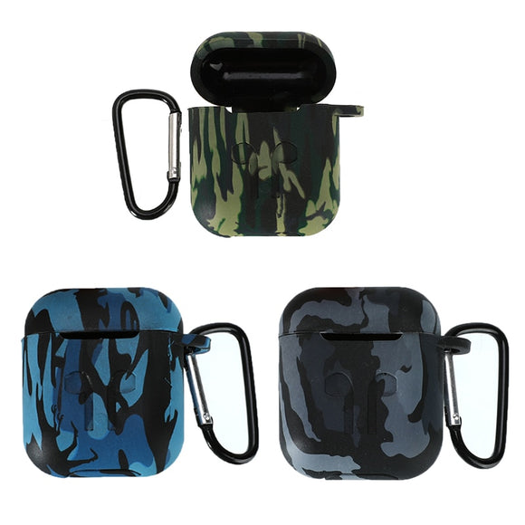 Camouflage Silicone Case For Airpods With Carabiner