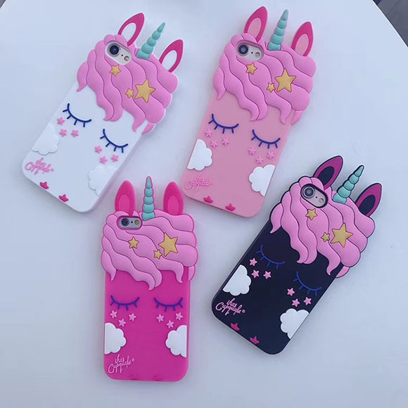 Cartoon Unicorn Soft Silicone Case For iPhone