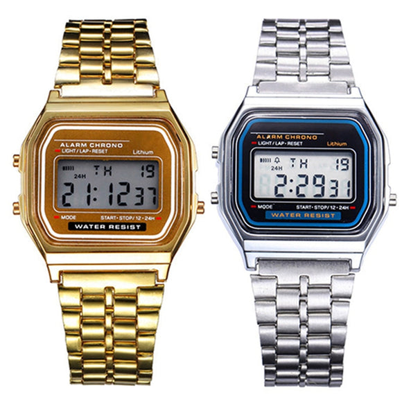 Vintage Stainless Steel LED Digital Watch