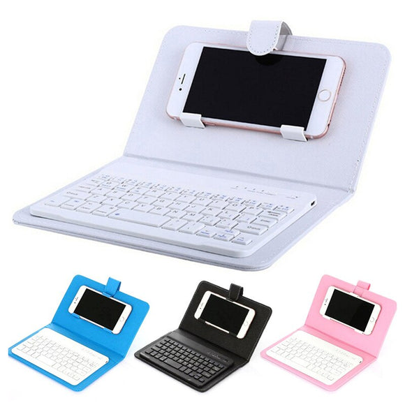Faux Leather Bluetooth Wireless Keyboard Mobile Device Case