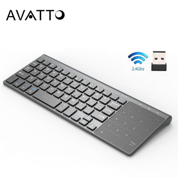 Thin 2.4GHz USB Wireless Mini Keyboard with Number Touchpad