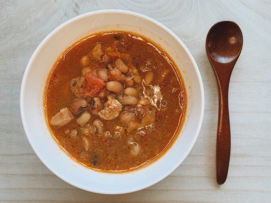 Home-made bake bean stew with chicken