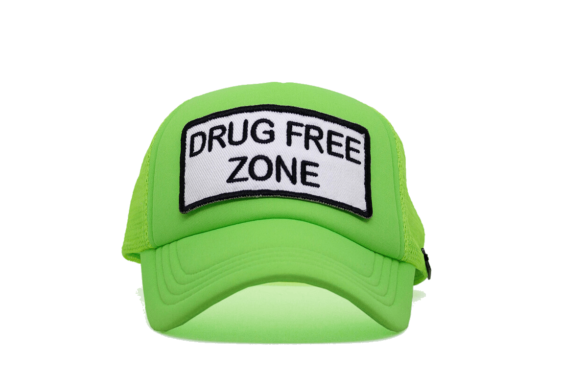 Drug Free Zone Trucker - Neon Green