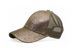 Golden Glitter Cap For Girls