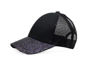 Black Semi-Glitter Mesh Cap For Girls