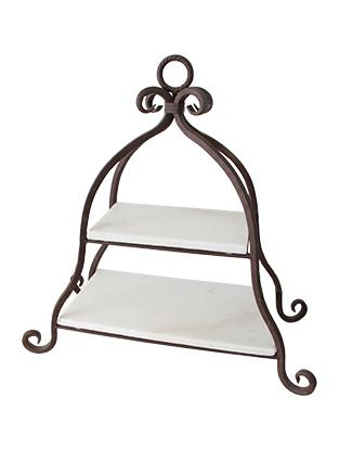 Ornate 2 Tier Marble Cake Stand