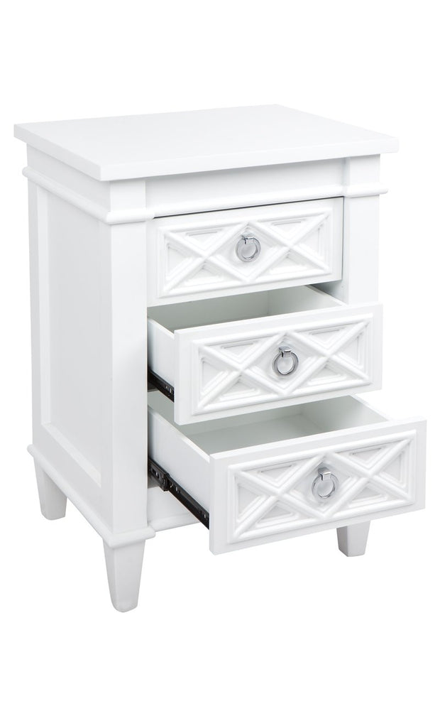 Plantation Bedside Table -  Small White