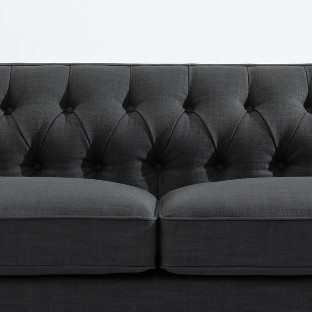 Tuxedo Button Tufted 3 Seater Sofa - Charcoal