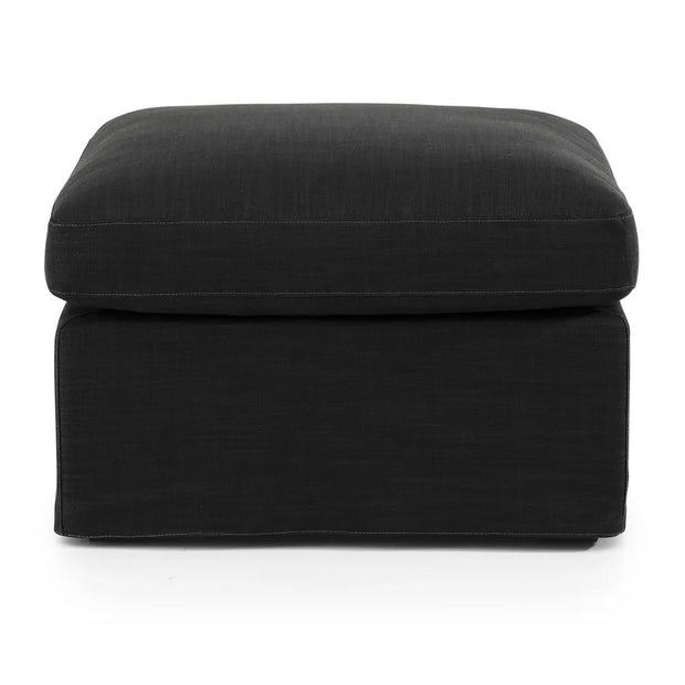 Birkshire Slip Cover Ottoman - Charcoal