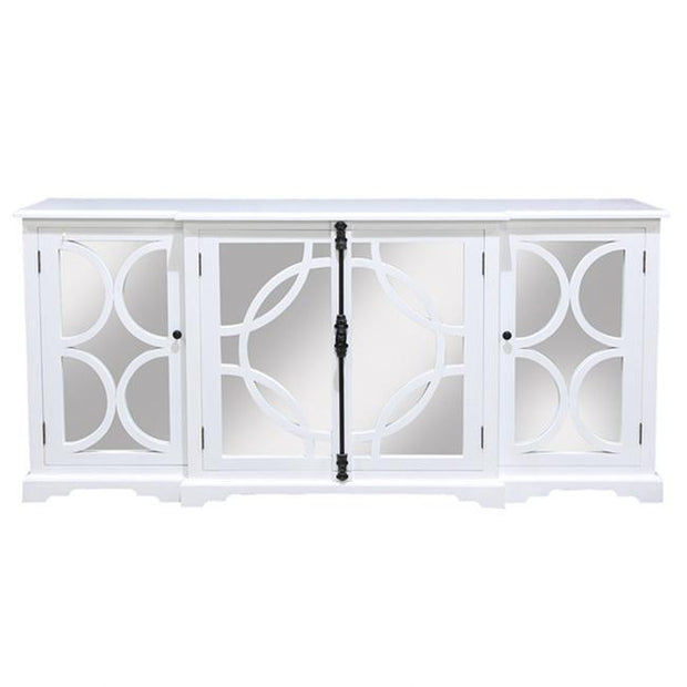 Keats Sideboard Mirror White Satin