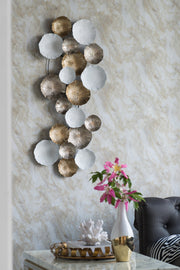 Metal Golden Bronze & White Wall Art