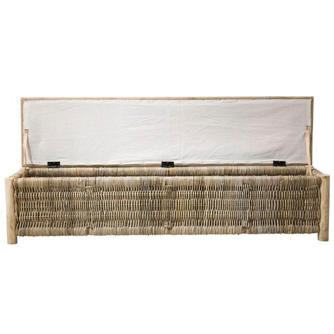 Cancun Wicker Bench Natural