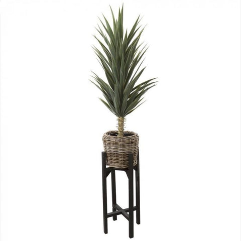 Faux Yucca Plant - rattan Pot Stand