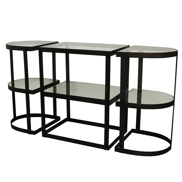Astrid Glass & Iron Console Table with 3 Tiers