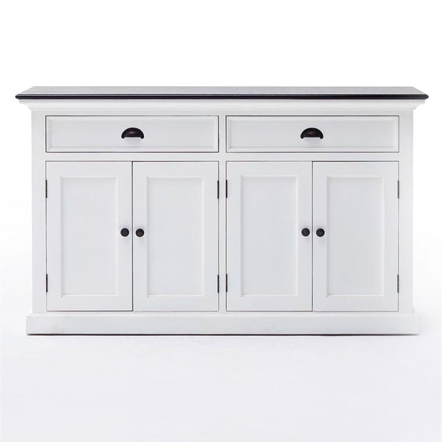 Hamptons Style Buffet with 4 doors and 2 drawers - Black Top