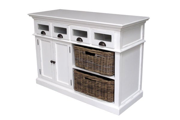 Hamptons Style Kitchen Buffet with glass front drawers