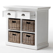Hamptons Small Sideboard with 4 Rattan Baskets