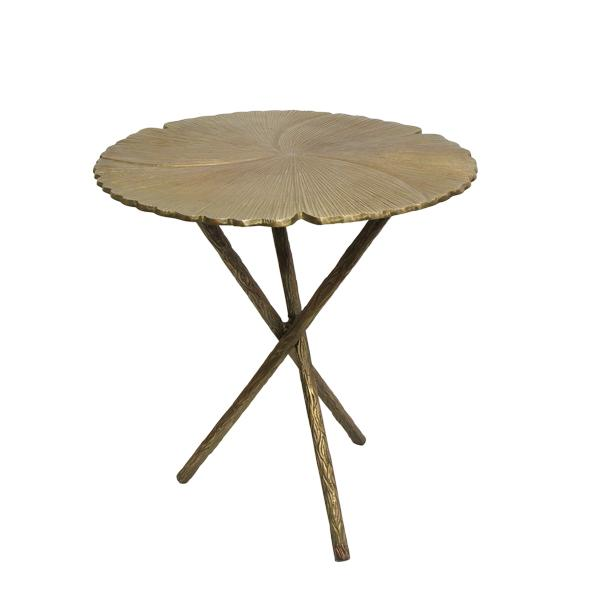 Brass Side Table with Leaf Design Top
