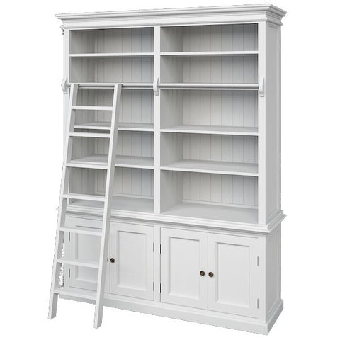 Hamptons Style Hutch Bookcase with Ladder