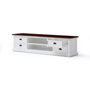 Hamptons Style Entertainment Unit with 4 Drawers - Wood Top