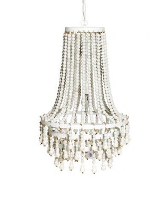 Tiered White Beaded Chandelier
