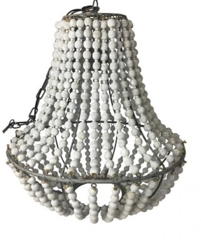 Ball Chandelier - Whitewash Beads