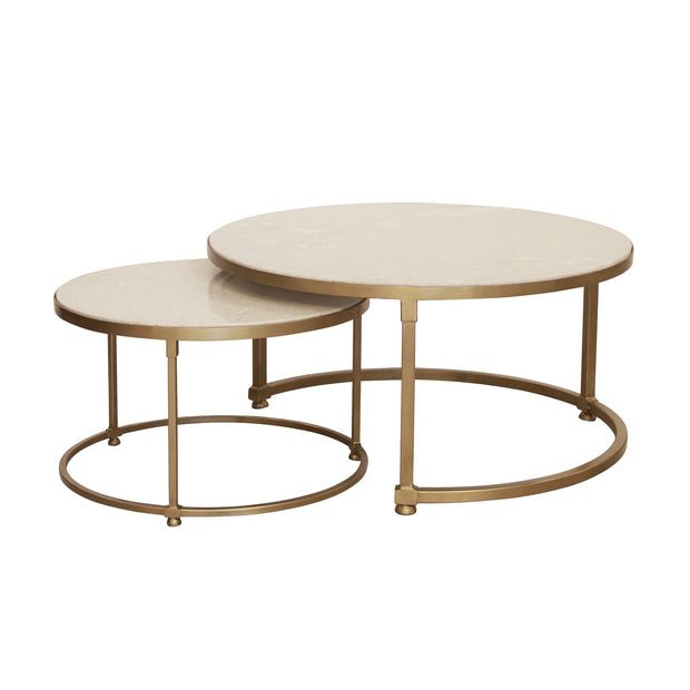 Marble & Gold Frame Coffee Tables - Set of 2
