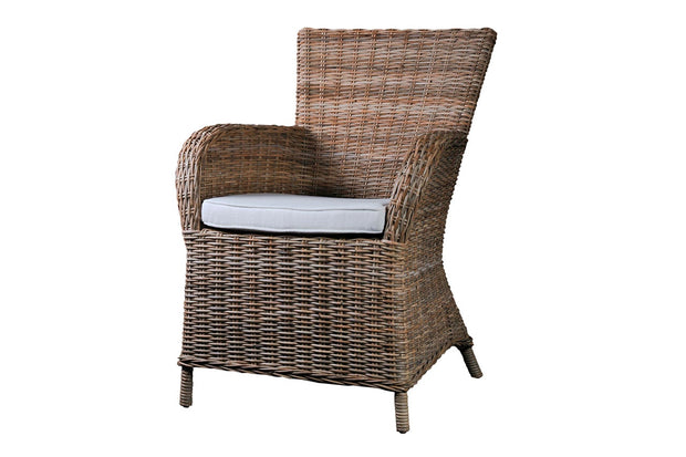 Hand Woven Rattan Arm Chair with Cushion - Set of 2