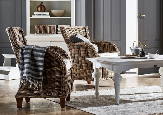 Hand Woven Rattan Chair with Cushion - Set of 2