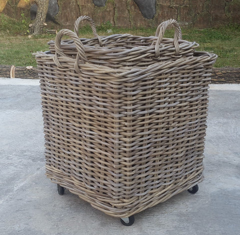 Square Basket with Wheels - Set of 2