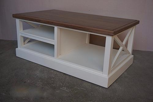 Cross Coffee Table with 2 Shelves - Natural