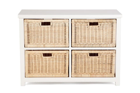 Hamptons Basket Storage 4 Drawers Square - White