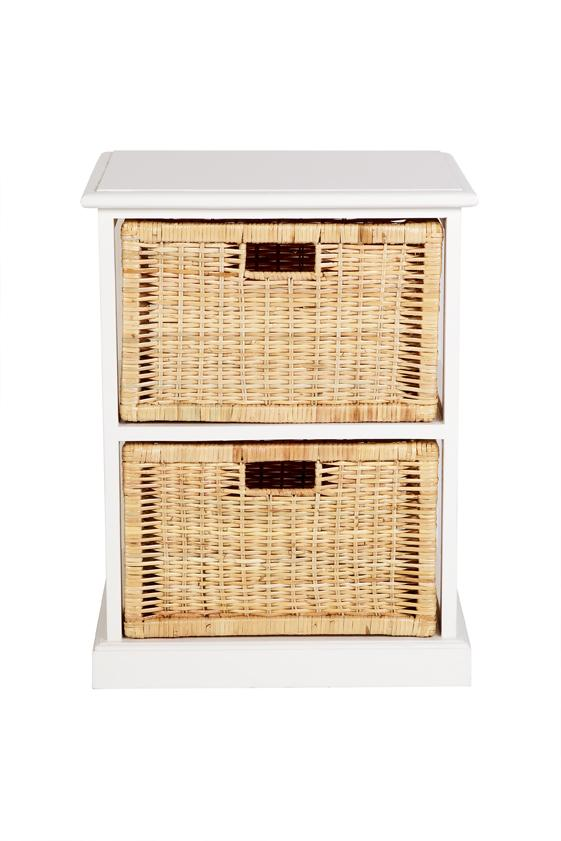 Hamptons Basket Storage 2 Drawers - White