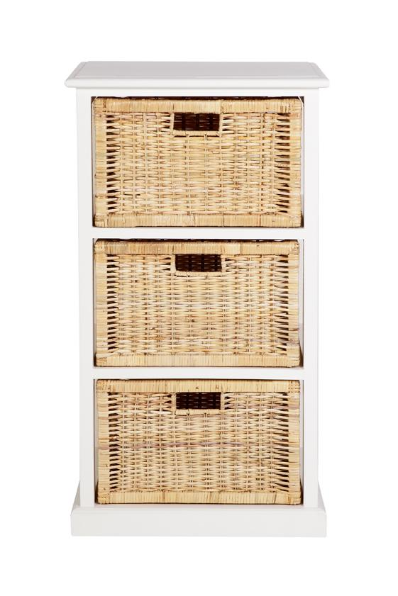 Hamptons Basket Storage 3 Drawers - White